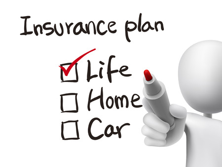 3d man: insurance plan checklist checking by 3d man over transparent board