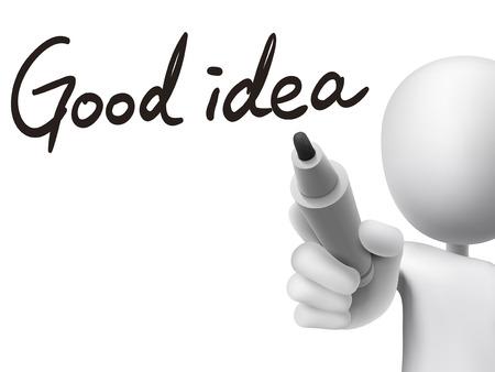 pensamiento creativo: buena idea las palabras escritas por el hombre 3d sobre tablero transparente