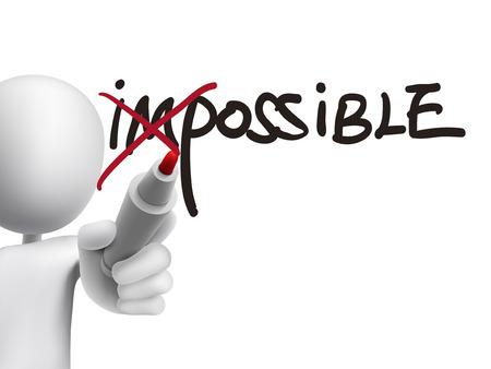 3D man het draaien van het woord onmogelijk naar mogelijk over transparante boord