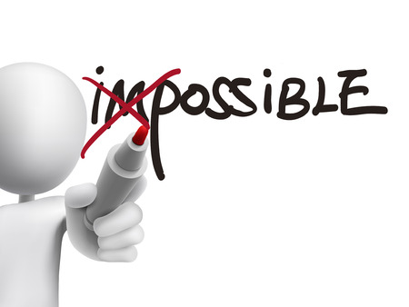 3d man turning the word impossible into possible over transparent board Stock Illustratie