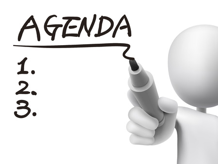 agenda word written by 3d man over transparent board