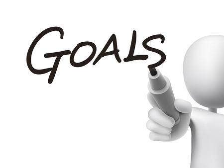 prioridades: metas palabra escrita por el hombre 3d sobre tablero transparente