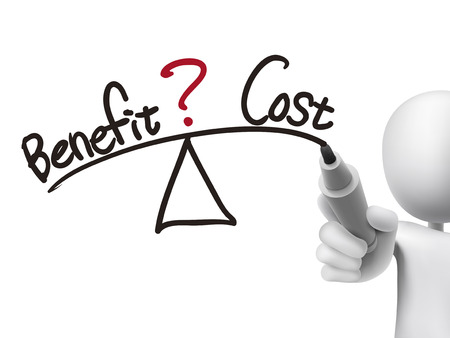 cost: balance between benefit and cost written by 3d man over transparent board Illustration