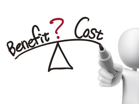 hombre escribiendo: equilibrio entre el beneficio y el costo por escrito por el hombre 3d sobre tablero transparente