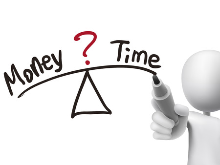 balance between time and money written by 3d man over transparent board Vector