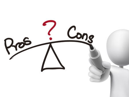cons: balance between pros and cons written by 3d man over transparent board