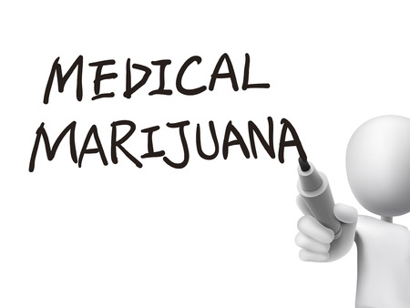 addictive: medical marijuana words written by 3d man over transparent board