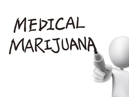 medical marijuana words written by 3d man over transparent board