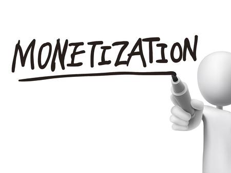 monetization: monetization word written by 3d man over transparent board