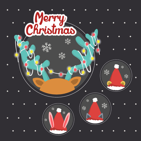 hide and seek: Merry Christmas greeting graphic with animals playing hide and seek Illustration
