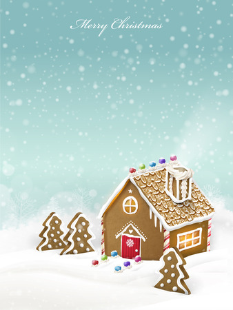 gingerbread house: lovely Christmas gingerbread house isolated on snowy background