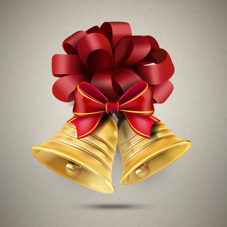 golden bells with a red bow isolated on grey Vector