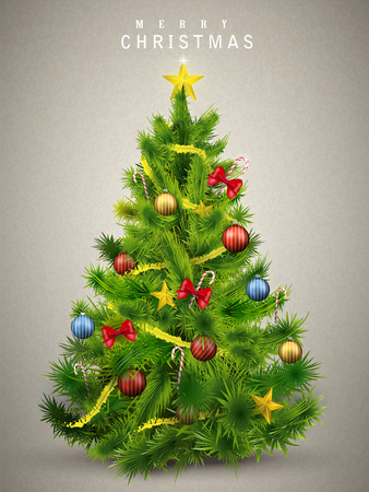 fir: beautiful decorated Christmas tree isolated on grey background