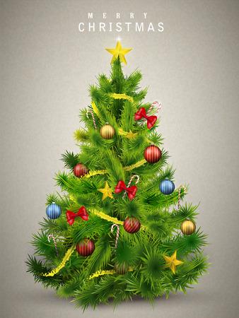 mooi versierde kerstboom geïsoleerd op een grijze achtergrond