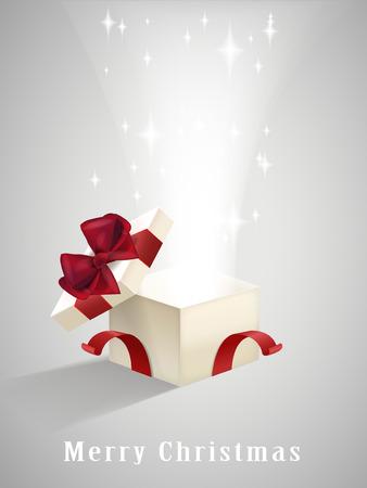 회색에 고립 된 반짝이는 불빛과 함께 열린 선물 상자 스톡 콘텐츠 - 33979263