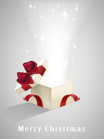 open gift box: open gift box with sparkling lights isolated on grey Illustration