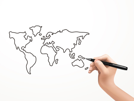 global map drawn by human hand over white background