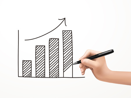 growing business graph drawn by human hand over white background