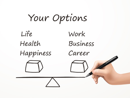 life and career balance drawn by human hand over white background Vector