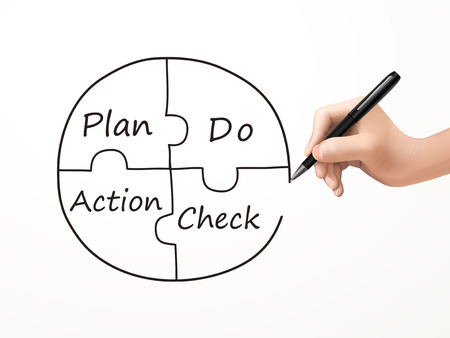 action plan: business process PDCA written by human hand over white background Illustration