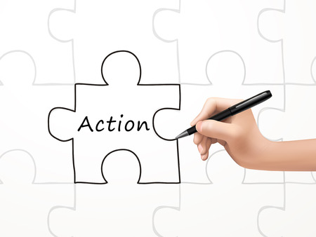 take action: action word and puzzle drawn by human hand over white background Illustration