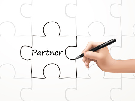 synergism: partner word and puzzle drawn by human hand over white background