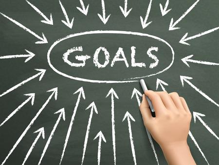 goals concept with arrows written by hand on blackboard Illusztráció