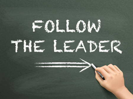 follow the leader: follow the leader written by hand on blackboard Illustration
