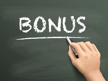 compensate: bonus word written by hand on blackboard