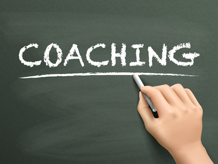 career coach: coaching word written by hand on blackboard Illustration