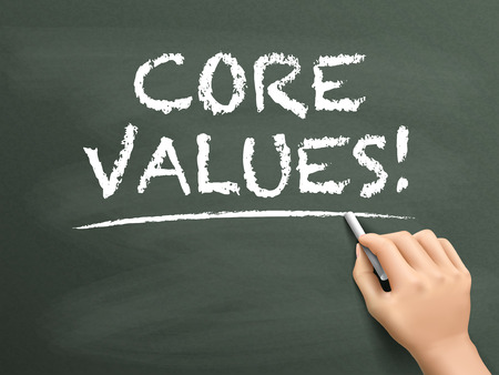 virtue: core values words written by hand on blackboard