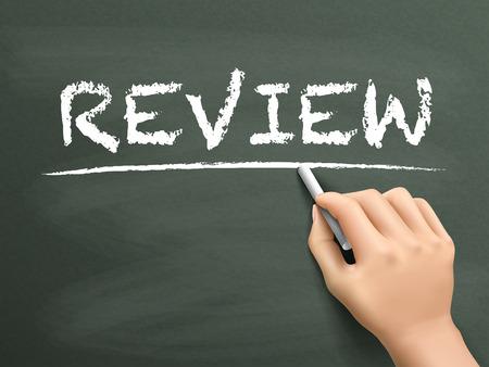 appraise: review word written by hand on blackboard