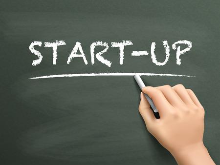 startup: start-up word written by hand on blackboard