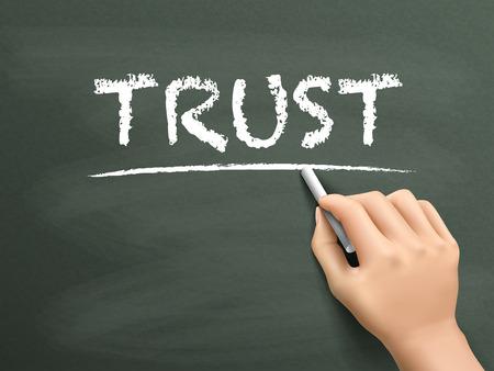 hand written: trust word written by hand on blackboard