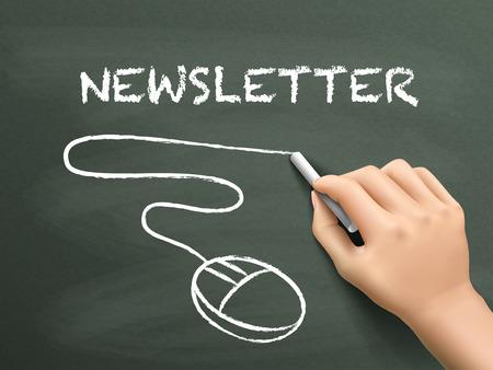 actuality: newsletter word written by hand on blackboard
