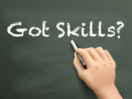 able to learn: got skills words written by hand on blackboard Illustration