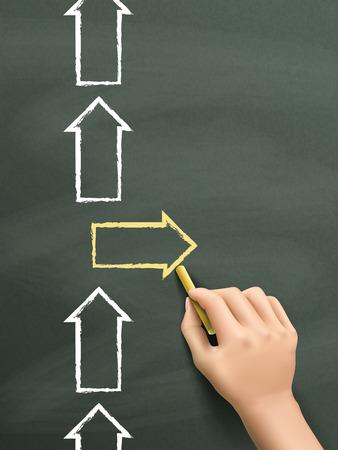 etre diff�rent: �tre concept diff�rent dessin� � la main isol� sur tableau noir