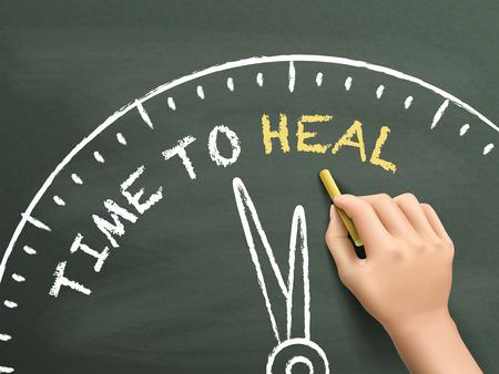 rebuild: time to heal written by hand on blackboard Illustration
