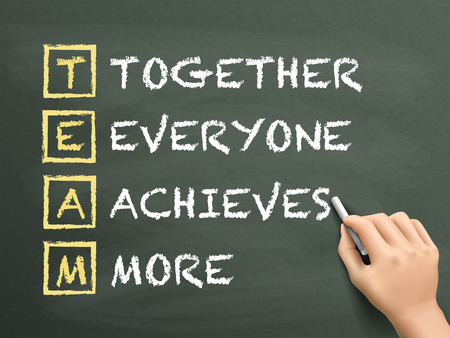 Together Everyone Achieves More written by hand on blackboard