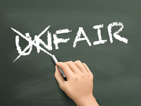 changing: hand changing the word unfair into fair isolated on blackboard