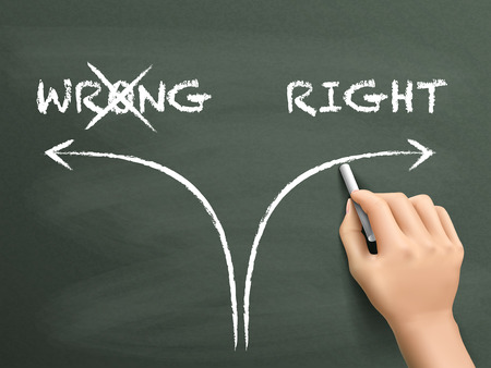 proper: choosing the right way instead of the wrong one on blackboard