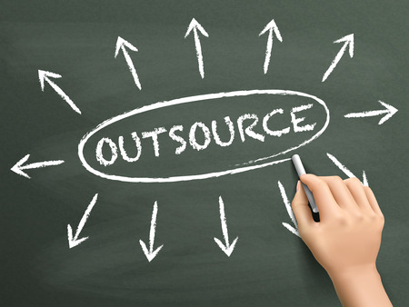 out of production: outsource concept with arrows written by hand on blackboard