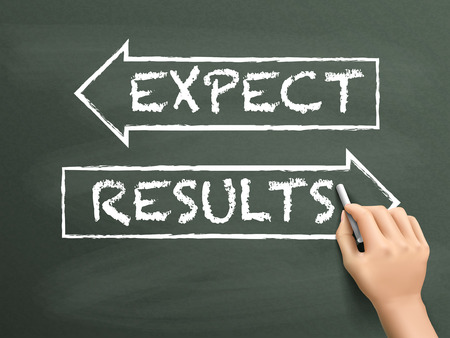 expect: results and expect words drawn by hand on blackboard Illustration