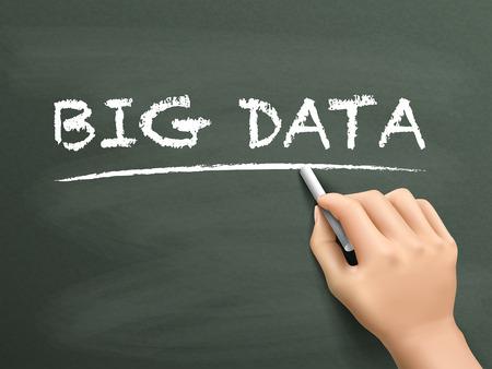 meta analysis: big data words written by hand on blackboard