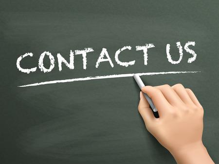 write us: contact us words written by hand on blackboard