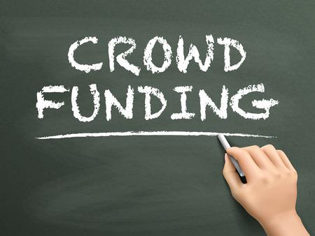 crowd sourcing: crowdfunding words written by hand on blackboard