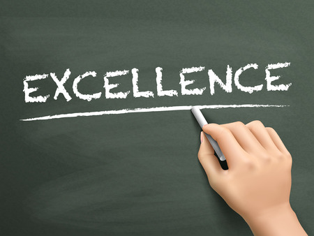 excellence word written by hand on blackboard Vectores