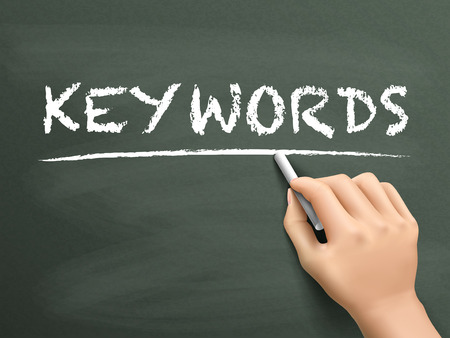 keywords link: keywords word written by hand on blackboard Illustration