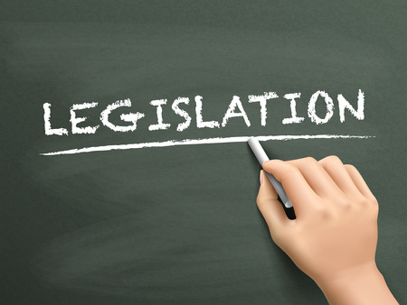 lawmaking: legislation word written by hand on blackboard