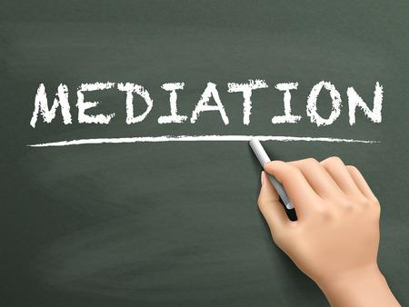 mediateur: mot de m�diation �crit � la main sur le tableau noir